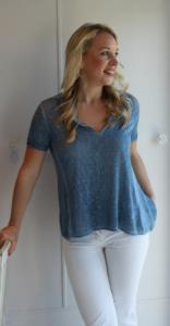 Denim Blue Knitted Linen Top