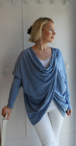 Lavender blue cross-over top
