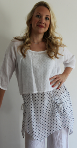 Linen Dress - White With Blue Polka Dots